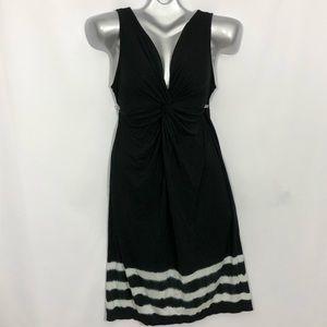 DKNYC v neck sleeveless tie die stripes midi dress
